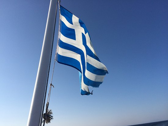 Agia Anna, Greece: Flag of the boat