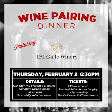 Langley City, Canada: Townhall Langley Presents a 5 Course Multi-Winery Pairing Dinner