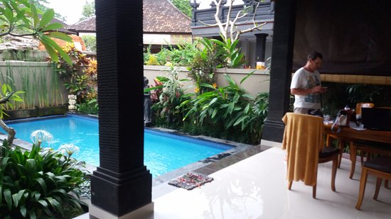 the open plan living area and pool