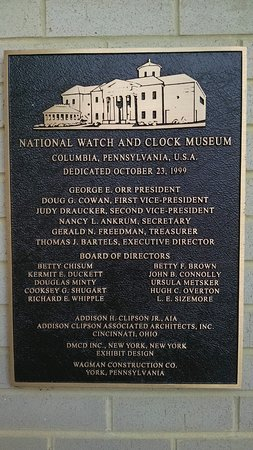 National Watch and Clock Museum: Museum plaque