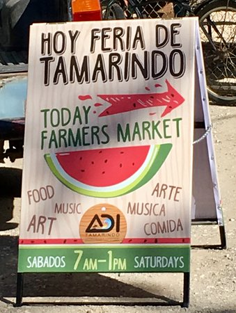 """The colorful sign that leads you to the """"Tamarindo Feria!"""""""