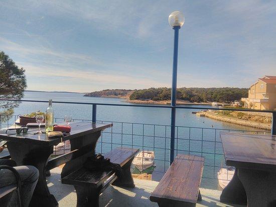 la vista dalla terrazza - Picture of Ribarska koliba, Simuni ...
