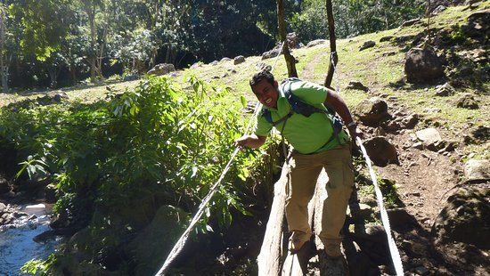 Granada, Nicaragua: Carlos acting goofy crossing a bridge on one of our hikes