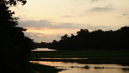 Jungle Land Panama: Day Excursions: Very nice sunset from the upper deck of the houseboat- SPEND THE NIGHT!