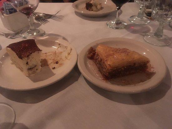 Athena Pallas: Huge Baklava & TARAMISOUZO (Tiramusu with Ouzo liquor) were tasty!