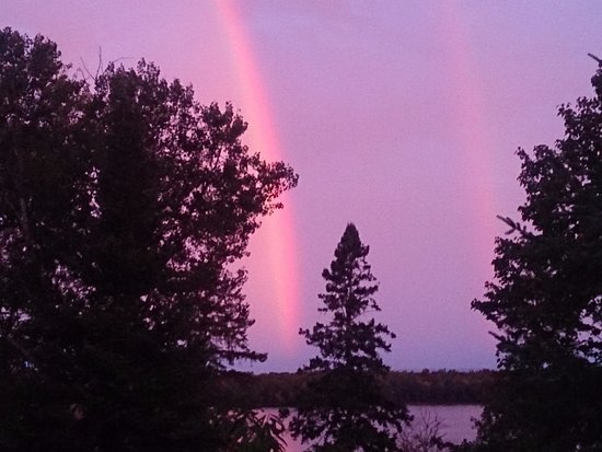 Callander, Canada: Beautiful double rainbow. Photo taken from our front deck