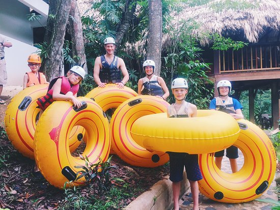 Black Rock Lodge: Family river tubing down the Macal River