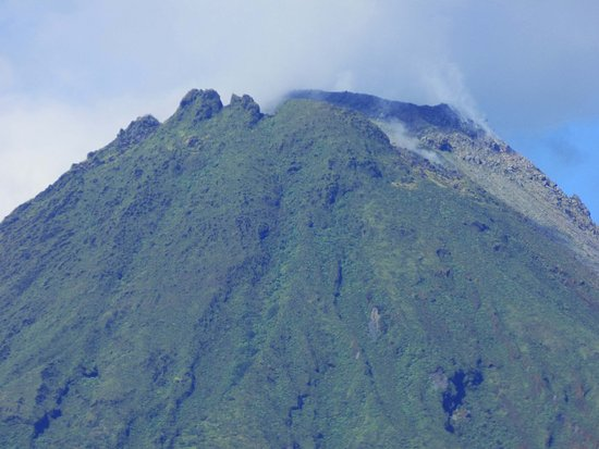 Magnified view of summit of Arenal Volcano as seen from the grounds of Arenal Green Hotel