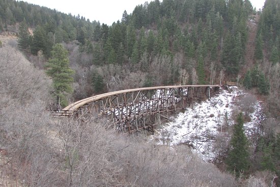 New Mexico Rails-to-Trails: Restored trestle from highway overlook. Trail overlook is at the far end.No public access.