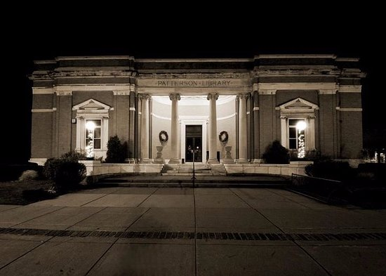 Westfield, NY: The library at night.