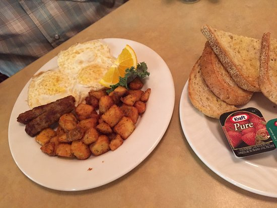 Breakfast special, over easy with sausage, AALTOS Garden Cafe, 2401 Saskatchewan Ave. W., Portag