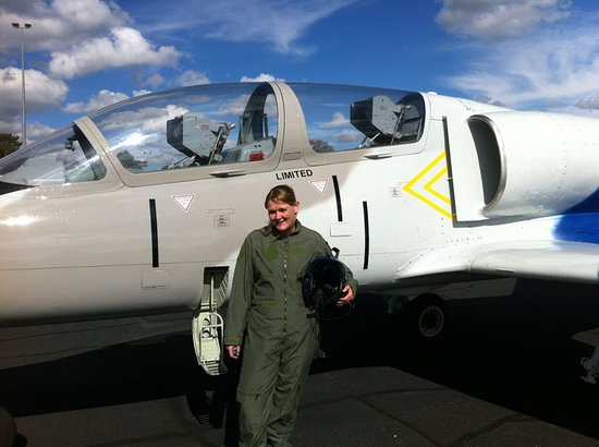 Bathurst, Australia: A brave passenger prior to going for a flight in the L39jet