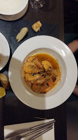 Radstock, UK: Mediterranean Prawns - with garlic, white wine and chilli butter