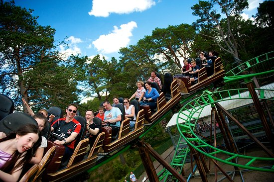 Carrbridge, UK: The Runaway Timber Train at Landmark Forest Adventure Park.