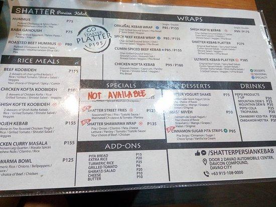 Shatter Persian Kebab: Menu List