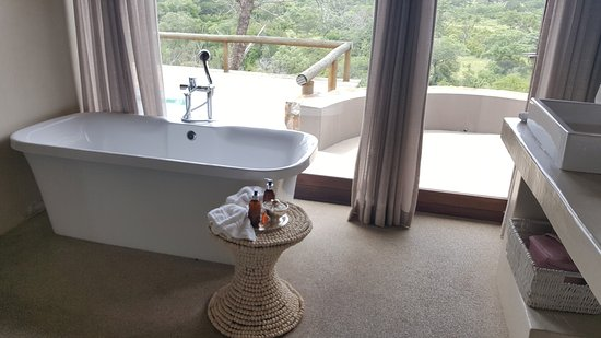 ‪‪Leopard Hills Private Game Reserve‬, جنوب أفريقيا: A bath with a view and outside shower‬
