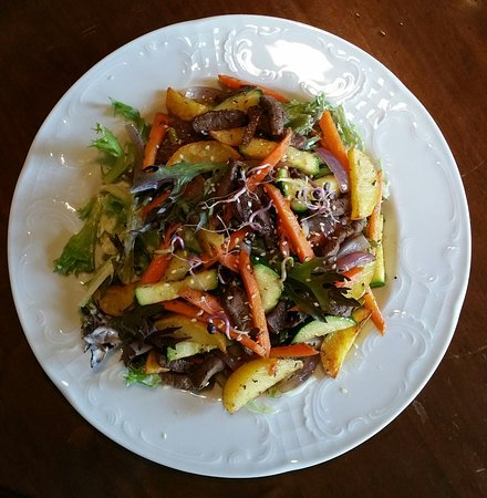 Medziotoju Uzeiga: Warm Vegetagles Salad with Duck or Venison Strips