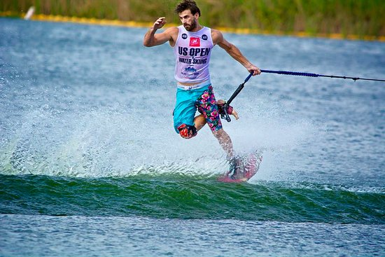 Windermere, FL: Franck Desboyaux, pro skier and Florida Ski School coach competing at the US Open of Waterski!