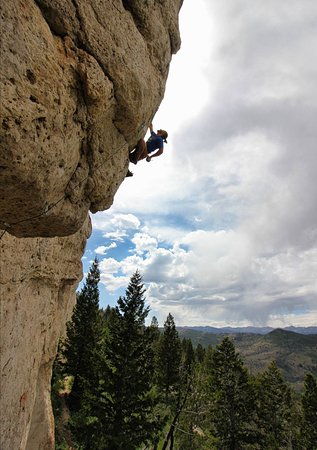 Owner of Wind River Climbing Guides, Kyle Meier, enjoying Wild Iris outside of Lander