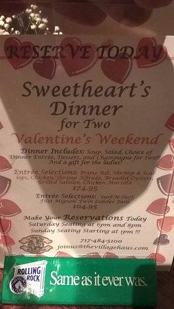 Reinholds, Πενσυλβάνια: Sweetheart's Dinner for Two