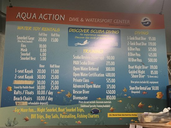 Secret Harbour Beach Resort: Dive shop rates