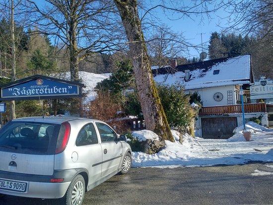 Benediktbeuern, Tyskland: Eingangsbereich zum Restaurant u. zur Terrasse