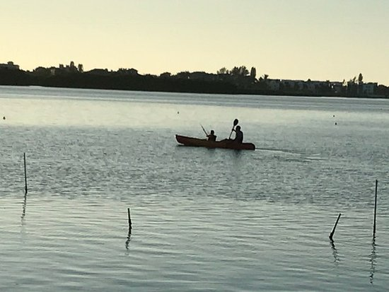Englewood, FL: A kayaker with his son on smooth waters in the bay.