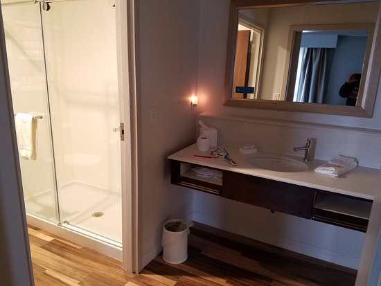 Hampton Inn & Suites Minooka: LARGE bathroom with walk in shower, lots of counterspace, really well done!