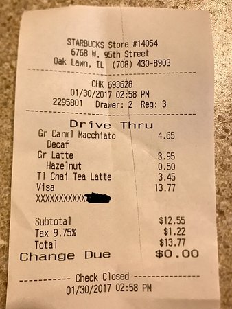Oak Lawn, IL: Receipt.