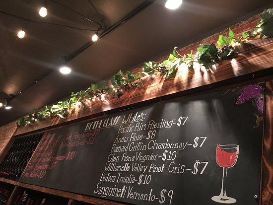 Ellensburg, WA: by the glass list - changes twice a month