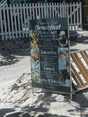 Paradiso Cafe: Breakfast street sign