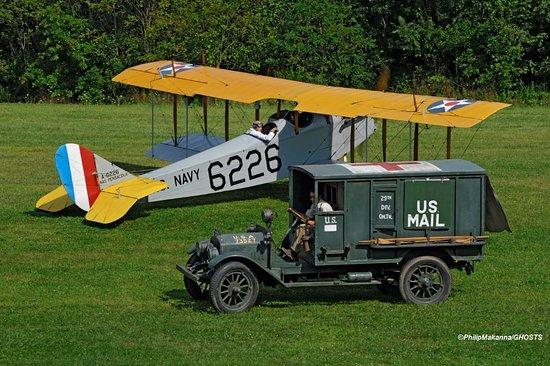 Red Hook, NY: 1918 Curtiss Jenny and 1918 Columbia ambulance reenacting a US Mail pickup