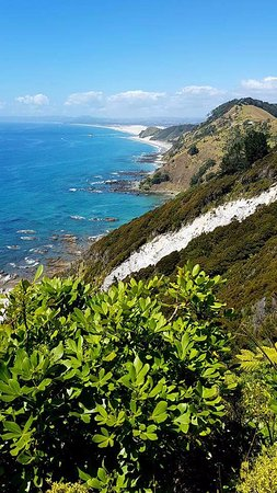 View from the end looking back towards Mangawhai Heads