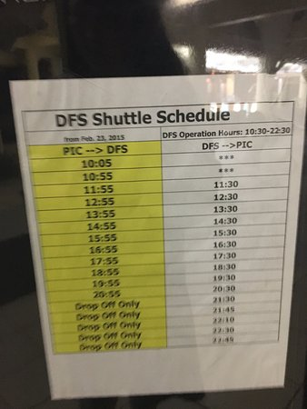 Pacific Islands Club Saipan: 셔틀 버스 시간표/1시간 마다 있음