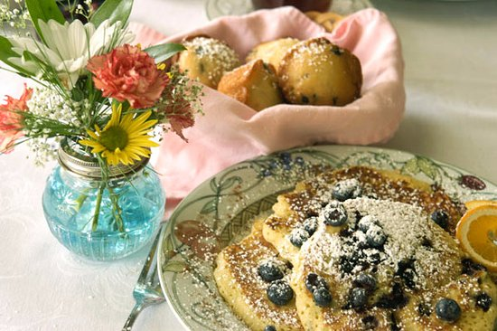 Lake Luzerne, NY: Blueberry Pancakes is a seasonal special of the Inn