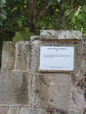 Nevis: Sign at entrance to the church