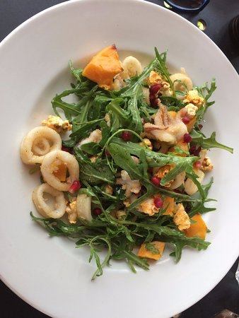 Perrotta's at the Gallery: Calamari salad with pumpkin and popcorn