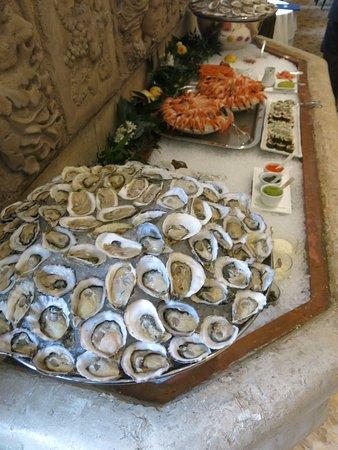 Oysters, shrimp, caviar etc.