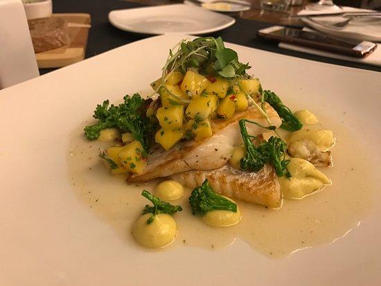 Zebra Cafe: Roasted cod with cauliflower-curry cream and mango sauсe