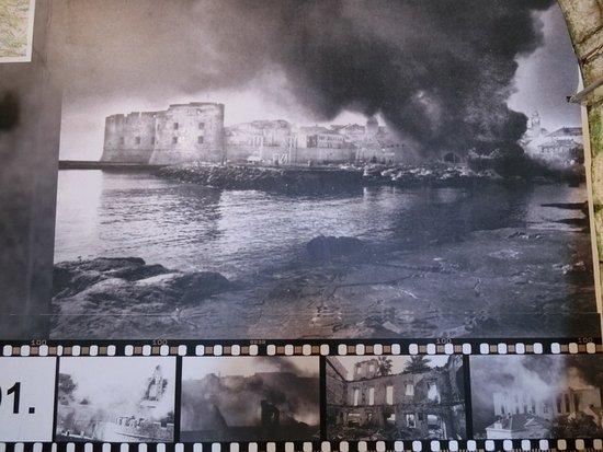 Museum of Croatian War of Independence: 砲撃で燃え上がるドブロヴニク市街