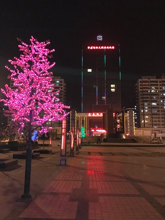 Longxi County, Chiny: Outside the hotel at night and also features a sculpture highlighting the Li family name.