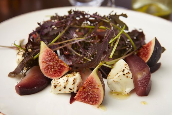 Seamer, UK: Goats Cheese, Fig & Pear Salad, with honey & lemon dressing