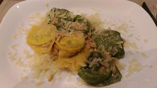 Province of Modena, Italy: tortelli con pecorino e pinoli tostati