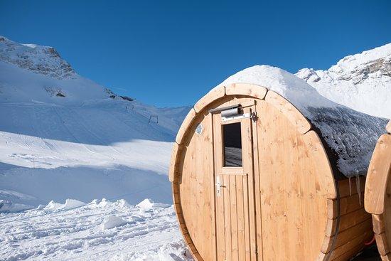 Iglu-Dorf Zugspitze: Sauna-Wagen beim Iglu-Dorf für unsere Hotel-Gäste