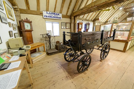 Framlingham, UK: A view of the Museum showing the Victorian funeral bier