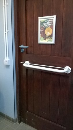 Braithwaite, UK: Accessible toilet with handle too high up for a lot of wheelchairs.