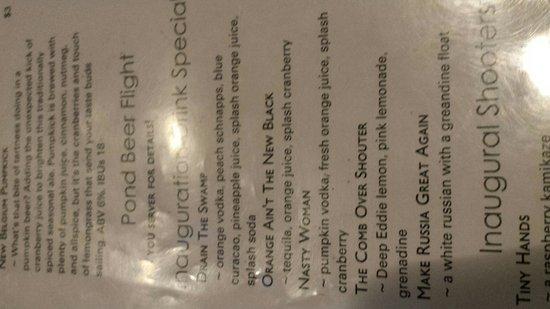 The Pond: Descriptive drink menu