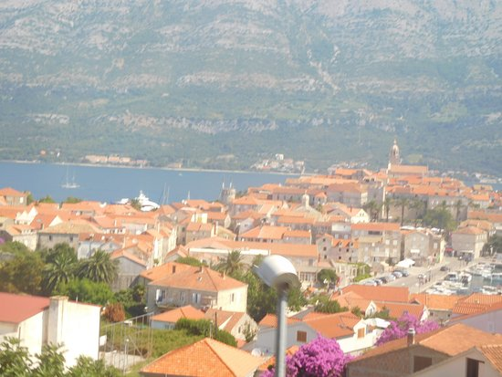 Korcula Island, Croatia: Korcula town from top of hill