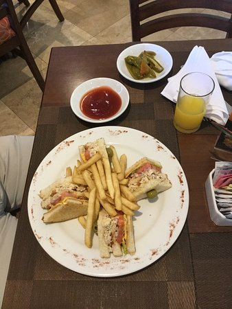 Hotel Aeropuerto Los Cabos : Clubhouse sandwich with fries