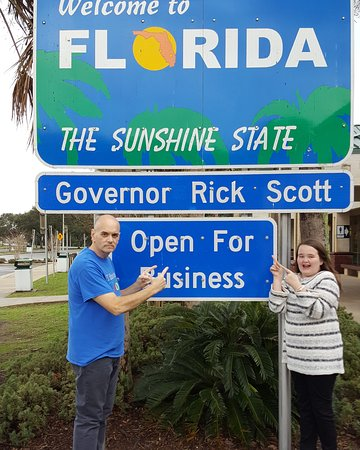 Yulee, FL: Bill and Katherine Lewis of Vero Beach, returning to Florida recently. Pit stop at the Florida W